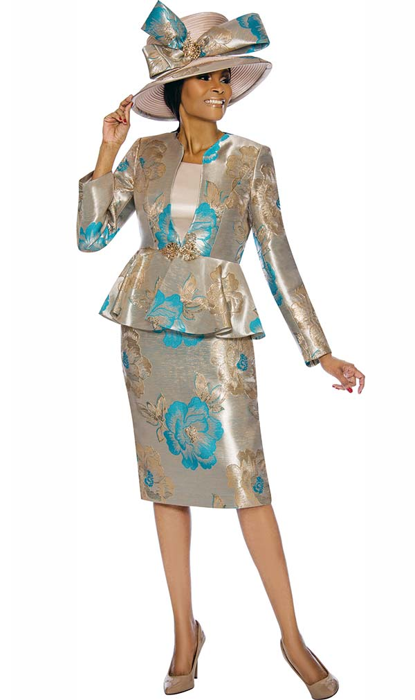 Susanna 3845-Turquoise - Floral Design Womens Church Suit With Peplum Jacket
