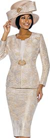 Susanna 3856-Champagne - Floral Design Womens Church Suit