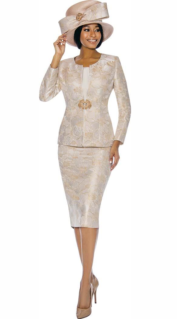 Susanna 3856-Champagne - Floral Design Womens Church Suit