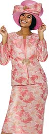 Susanna 3856-Coral - Floral Design Womens Church Suit