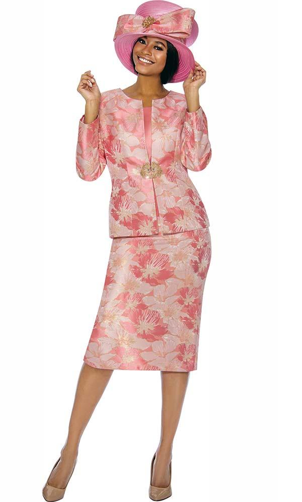 Susanna 3856-Coral - Floral Design Womens Church Suit