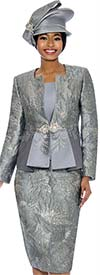 Susanna 3858-Pewter - Womens Church Suit With Embellished Design & Pleated Style Jacket