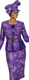 Susanna 3858-Purple - Womens Church Suit With Embellished Design & Pleated Style Jacket