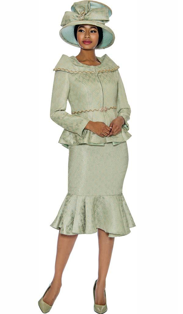 Susanna 3882 - Flounce Hem Skirt Suit With Portrait Collar Peplum Style Jacket