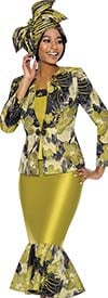 Susanna 3883 - Abstract Floral Print Design Flounce Hem Skirt Suit With Star Neckline Jacket