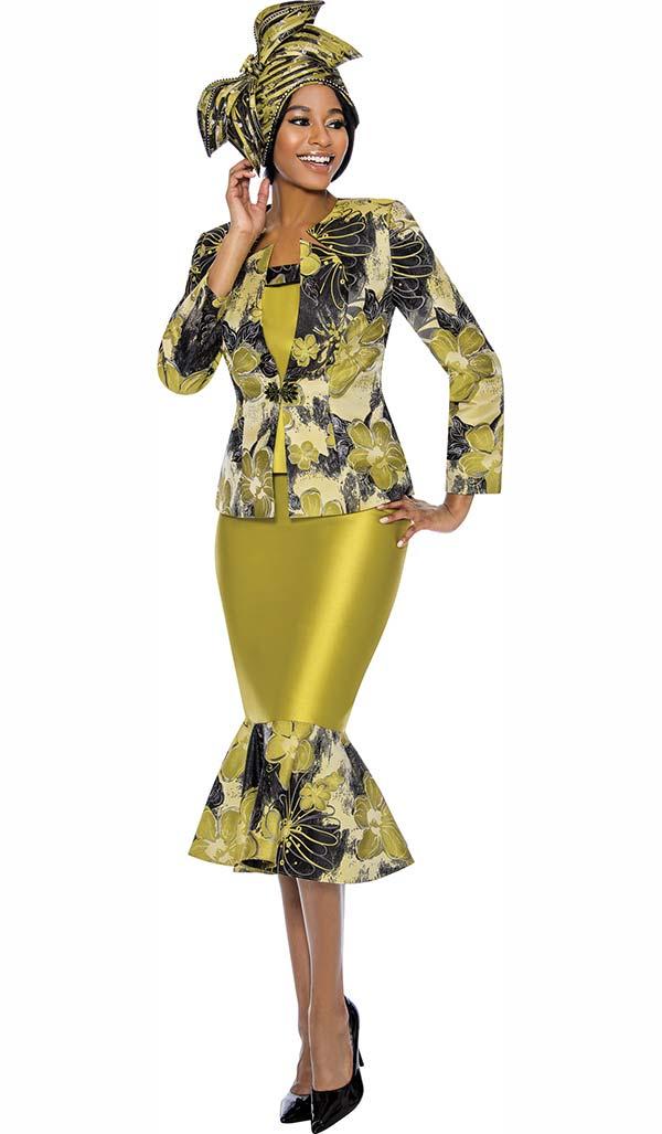 Susanna 3883 - Abstract Floral Print Design Flounce Hem Skirt Suit With Star Neckline Jacket