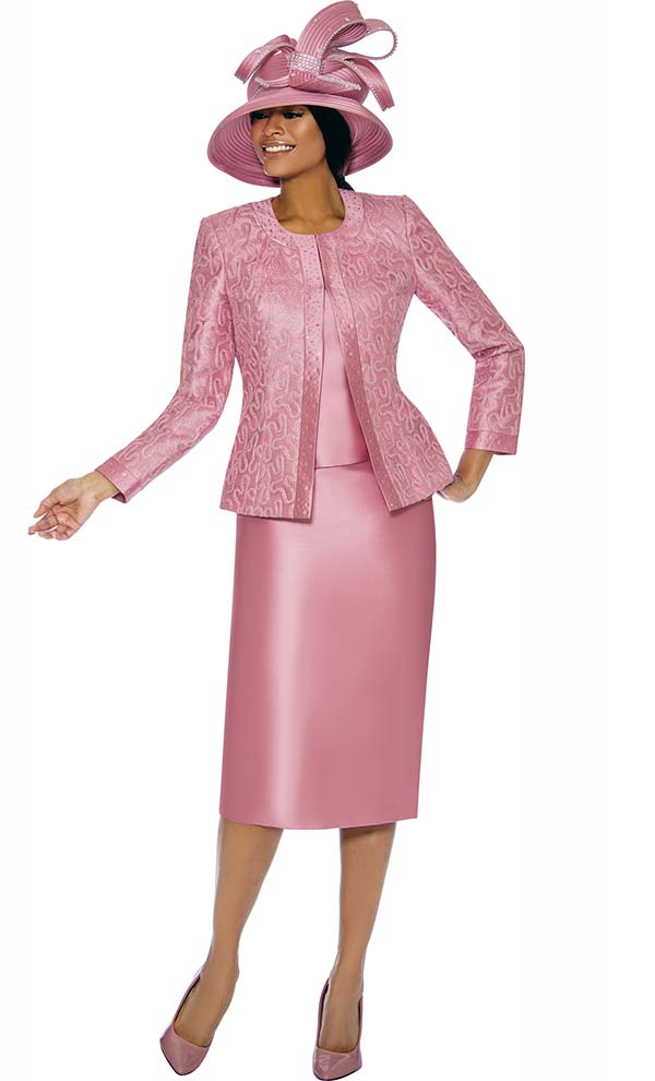 Susanna 3885-Rose - Womens Church Suit With Trim Embellished Brocade Style Jacket