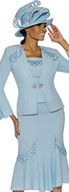 Susanna 3886-Blue - Womens Flared Skirt Suit With Loop Applique Embellished Detail