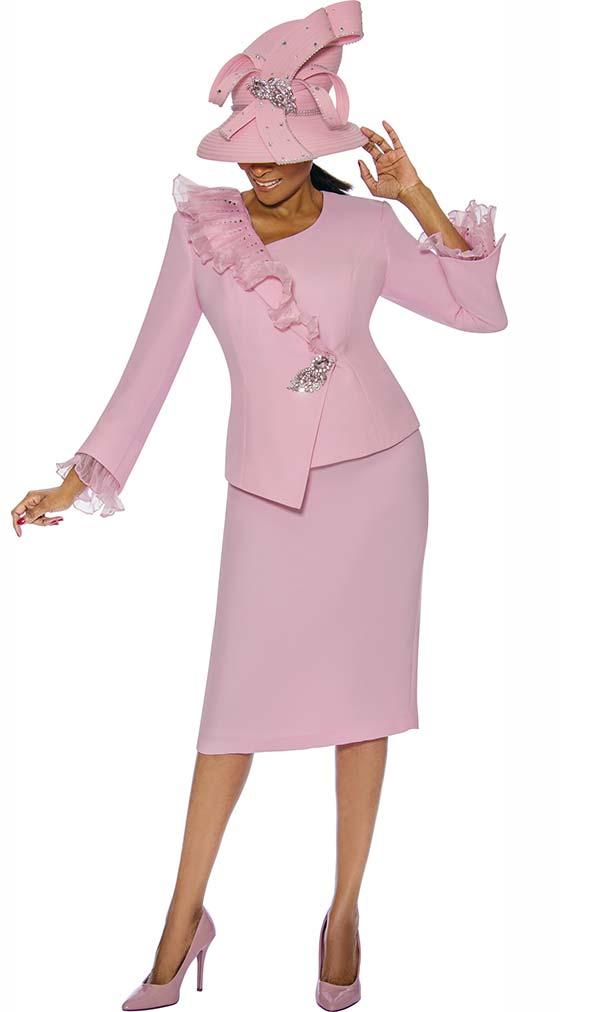 Susanna 3887 - Womens Skirt Suit With Ruffled Asymmetric Design Jacket