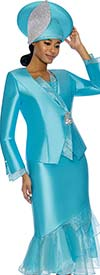 Susanna 3888-Blue - Womens Church Suit With Organza Flounce Skirt & Trimmed Jacket