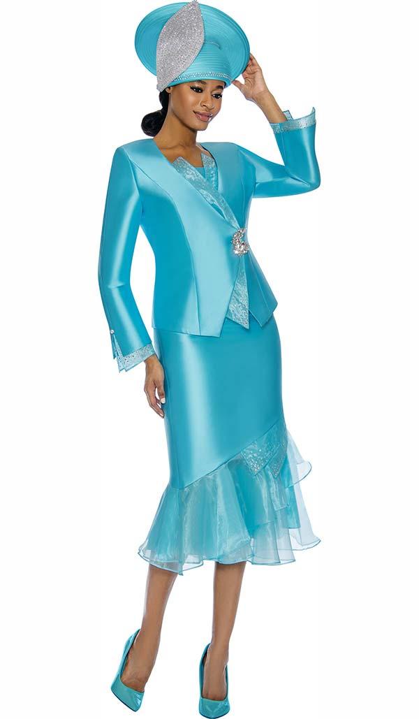 Susanna 3888-Blue - Womens Church Suit With Organza Flounce Skirt & Trimmed Jacket