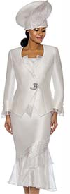 Susanna 3888-White - Womens Church Suit With Organza Flounce Skirt & Trimmed Jacket