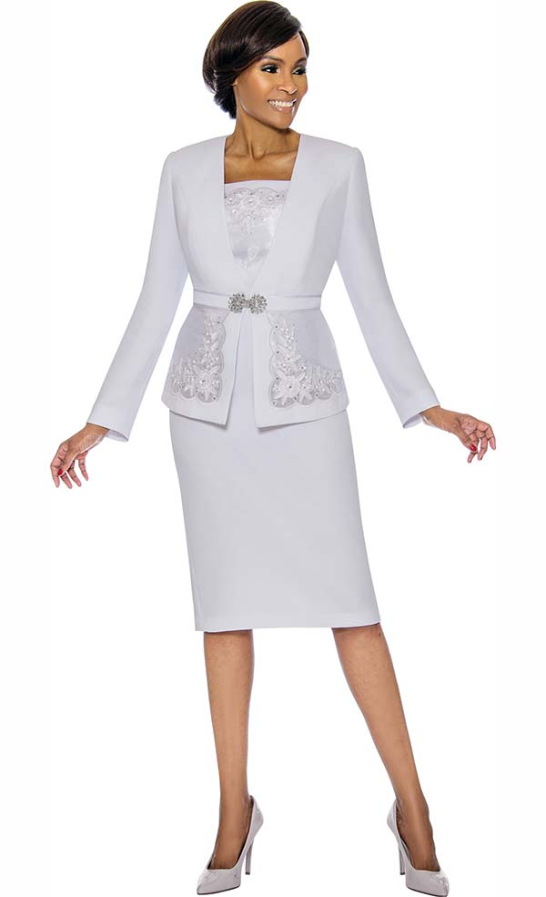Susanna 3889-White - Womens Church Suit With Detailed Inset On Jacket