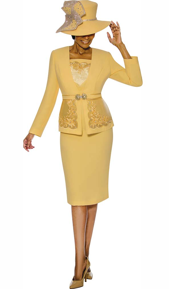 Susanna 3889-Yellow - Womens Church Suit With Detailed Inset On Jacket