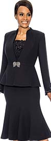 Susanna 3890-Black - Womens Church Suit With Flared Skirt & Ruffled Cami & Cuffs