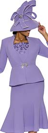 Susanna 3890-Lavender - Womens Church Suit With Flared Skirt & Ruffled Cami & Cuffs