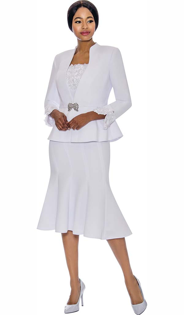 Susanna 3890-White - Womens Church Suit With Flared Skirt & Ruffled Cami & Cuffs