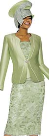 Susanna 3892-Green - Floral Design Womens Church Suit With Piping Detailed Jacket