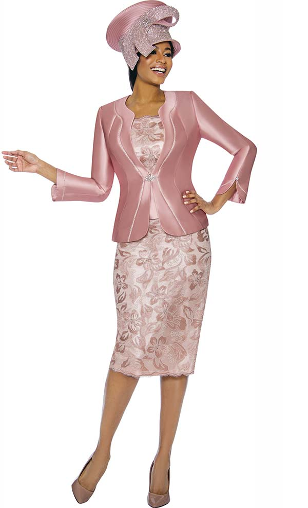 Susanna 3892-Mauve - Floral Design Womens Church Suit With Piping Detailed Jacket