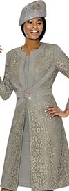 Susanna 3895-Grey - Floral Brocade Style Jacket & Dress Set