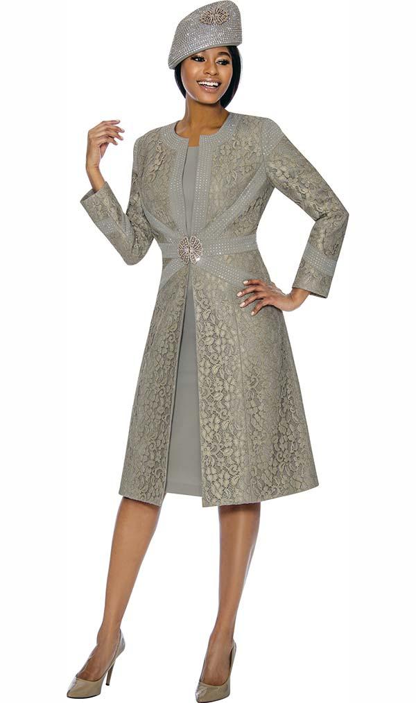 Susanna 3895-Grey - Floral Brocade Style Jacket & Dress Set