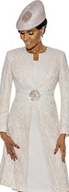 Susanna 3895-Off White - Floral Brocade Style Jacket & Dress Set