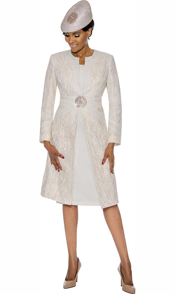 Susanna 3895-Off White - Floral Brocade Style Jacket & Dress Set