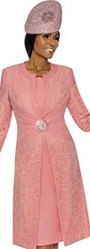 Clearance Susanna 3895-Peach - Floral Brocade Style Jacket & Dress Set