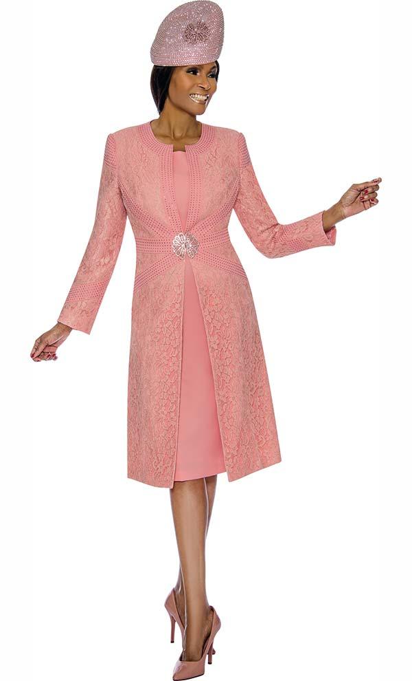 Susanna 3895-Peach - Floral Brocade Style Jacket & Dress Set