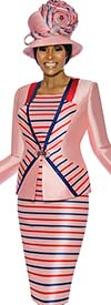 Susanna 3896 - Skirt Suit With Multi Color Stripe Design