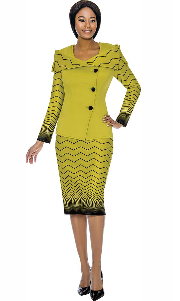 Susanna 3898 - Off Shoulder Collar Jacket & Skirt Suit With Gradient Effect Chevron Stripe Pattern