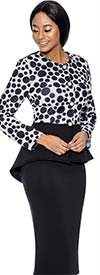 Susanna 3899 - Skirt Set With Multi Size Polka Dot Pattern Peplum Top