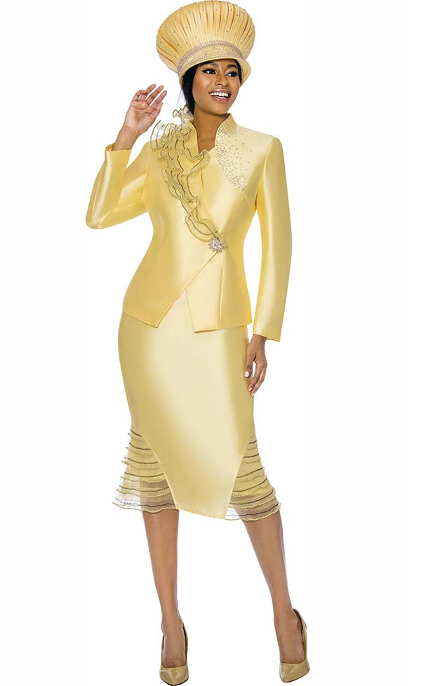 Susanna 3900-Canary - Womens Church Suit With Ruffle Flounce Skirt & Trimmed Jacket