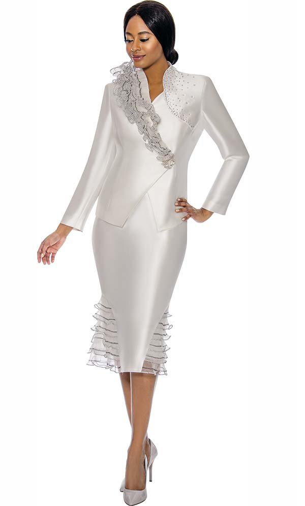 Susanna 3900-Pearl - Womens Church Suit With Ruffle Flounce Skirt & Trimmed Jacket