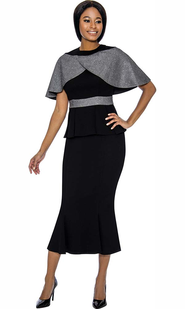 Susanna 3903-Black - Pleated Flare Skirt Suit With Over Shoulder Tulip Cape Style Jacket