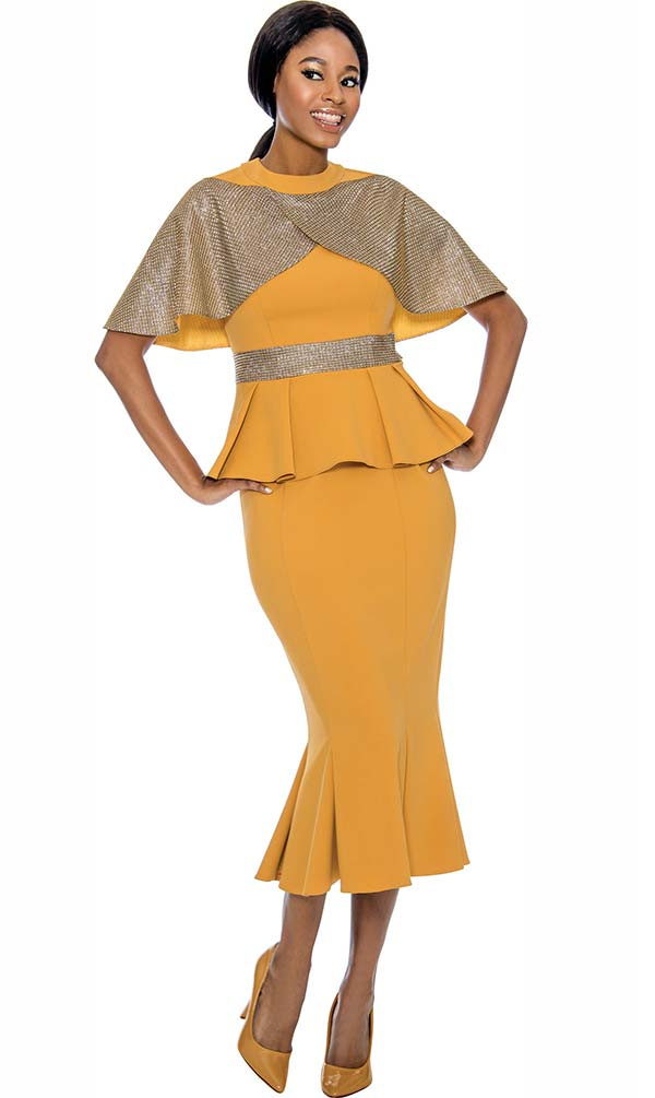 Susanna 3903-Gold - Pleated Flare Skirt Suit With Over Shoulder Tulip Cape Style Jacket