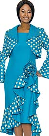 Susanna 3904-Turquoise - Ruffle Accented Polka Dot Dress Set With Butterfly Bell Sleeve Bolero Jacket