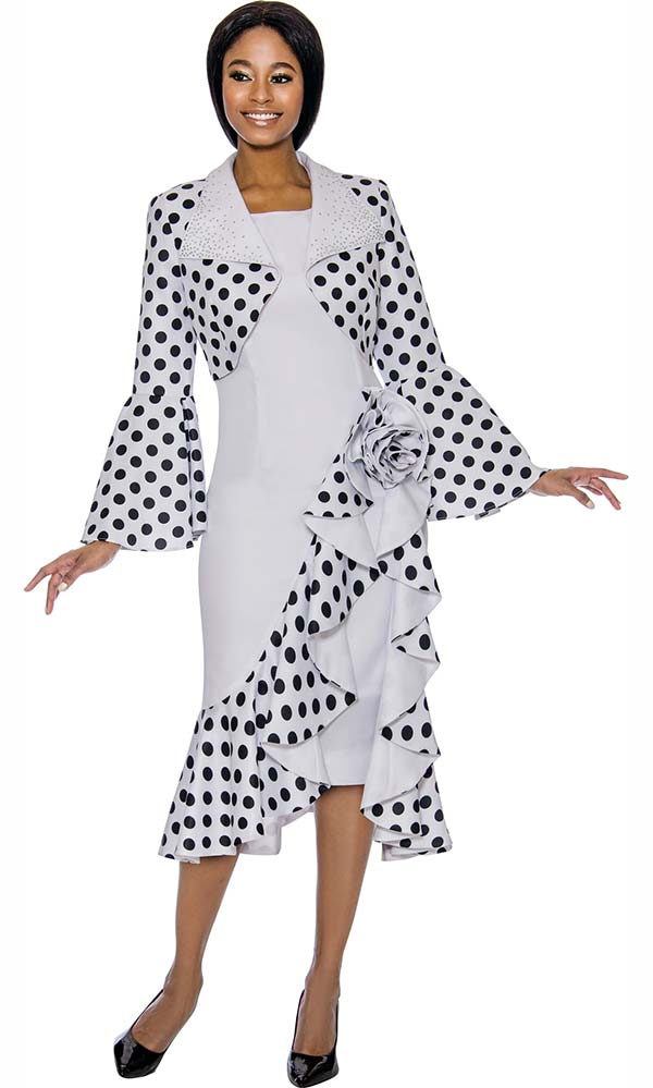 Susanna 3904-White - Ruffle Accented Polka Dot Dress Set With Butterfly Bell Sleeve Bolero Jacket