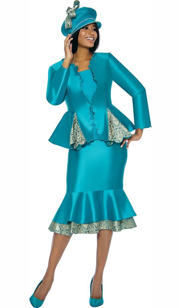 Susanna 3906 - Layered Flounce Skirt Suit With Godet Style Pleated Peplum Jacket