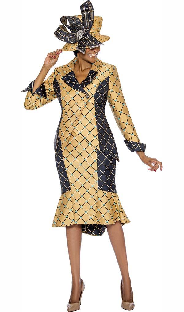 Susanna 3907 - Flounce Hem Skirt Suit With Criss Cross Stripe Design