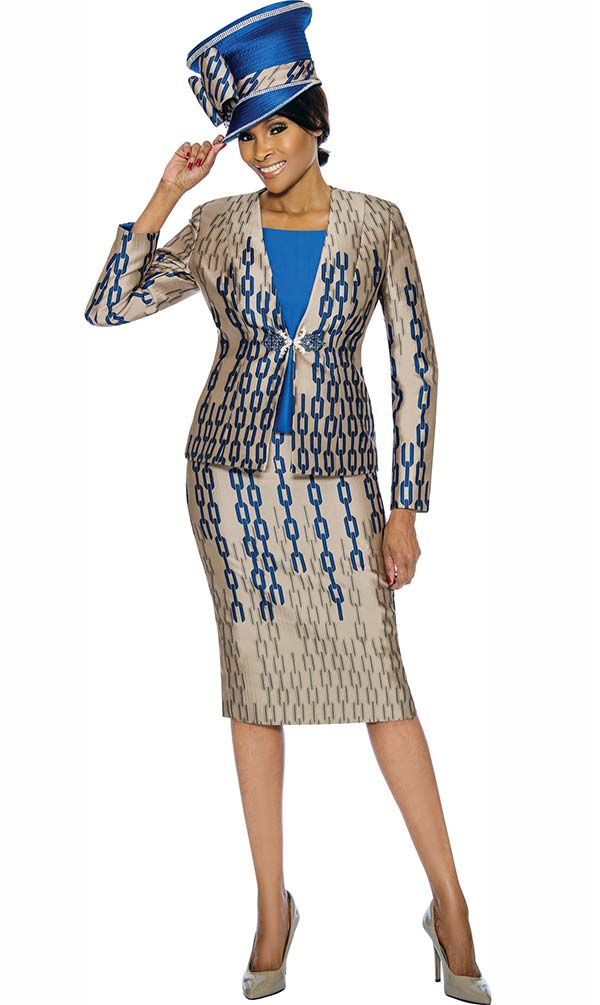 Susanna 3908 - Womens Skirt Suit With Multi Chainlink Pattern Print Design