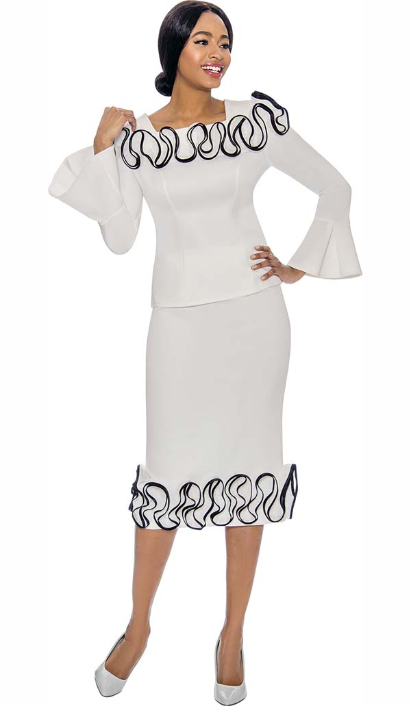 Susanna 3910-Off White - Pleated Bell Sleeve Ruffle Accented Skirt Set In Scuba Fabric