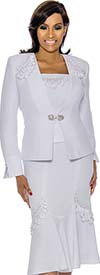 Susanna 3886-White - Womens Flared Skirt Suit With Loop Applique Embellished Detail