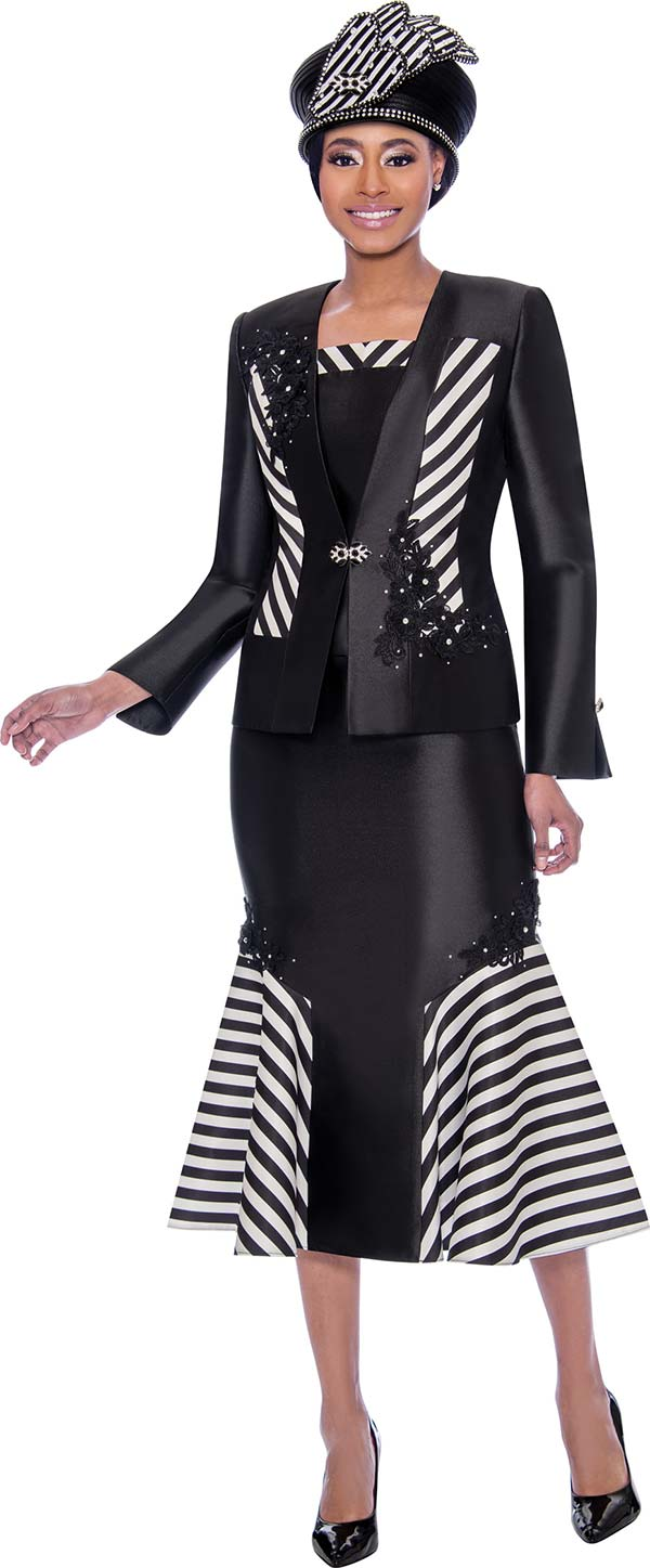 Susanna 3917 - Three Piece Flared Skirt Suit With Multi Stripe & Floral Applique Design