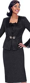 Susanna 3919 - Skirt & Jacket Set With Lace Trimmed Flounce Cuff Jacket