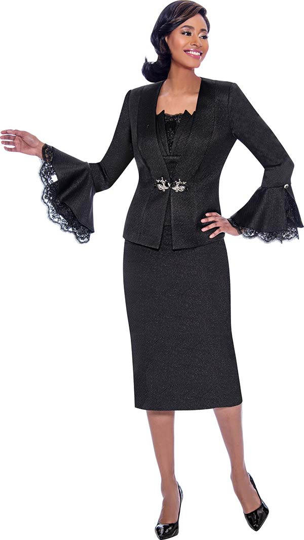 Susanna 3919 - Skirt & Jacket Set With Lace Trimmed Flounce Cuff Jacket