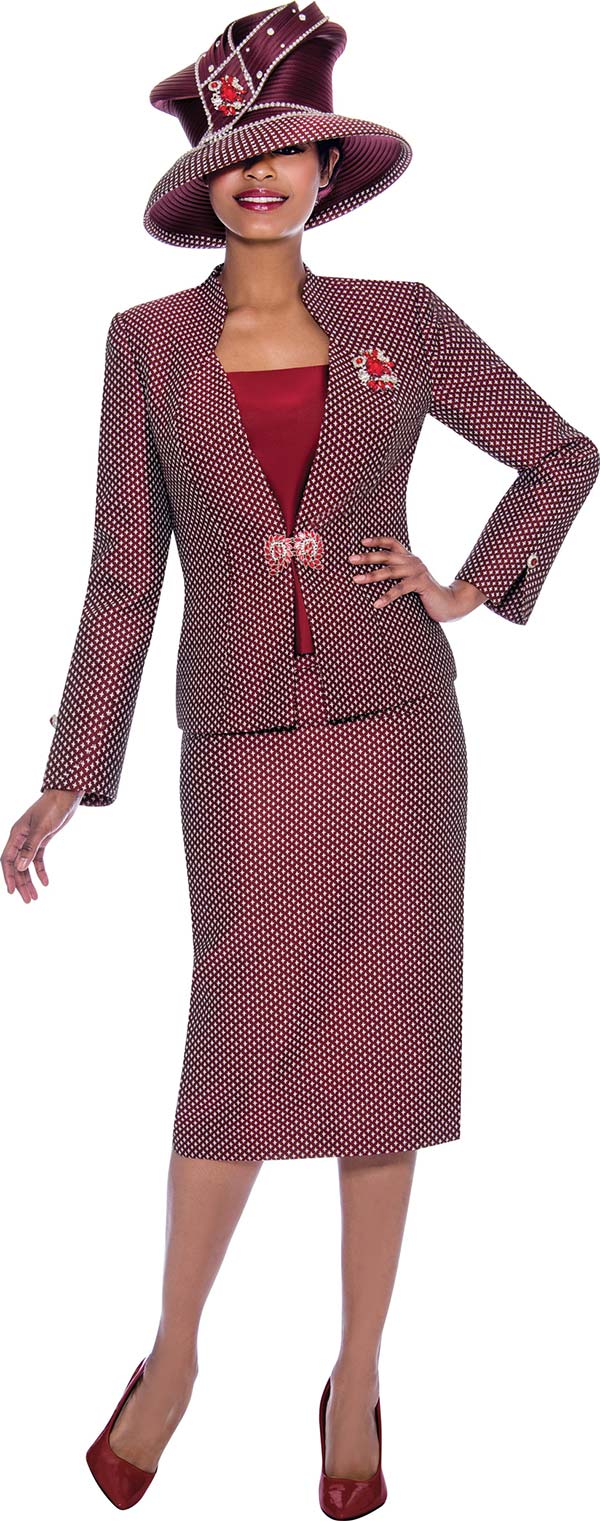 Susanna 3920 - Three Piece Skirt Suit With Split Buttoned Cuff Jacket