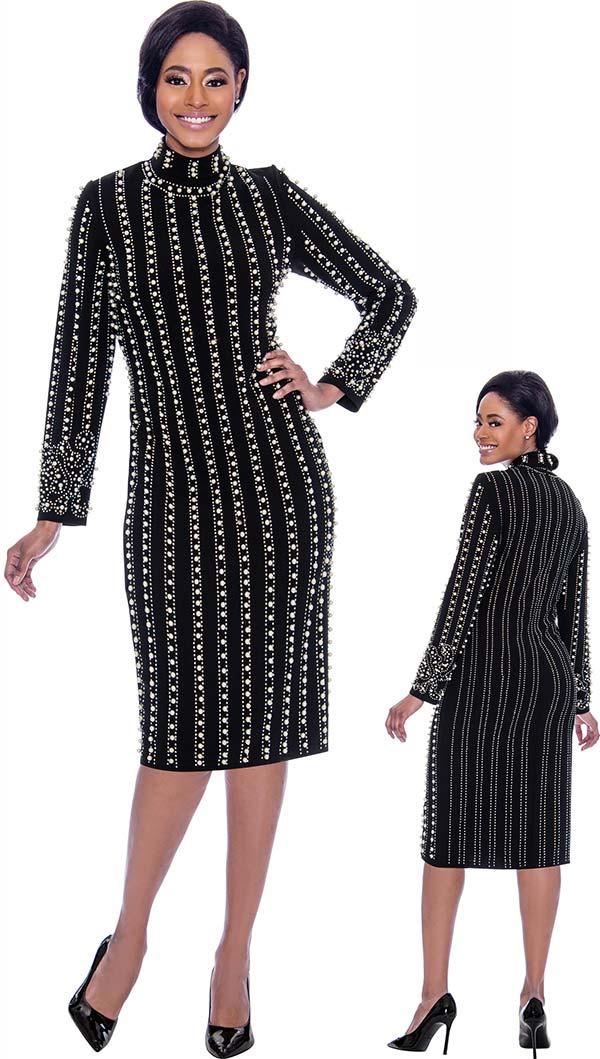 Susanna 3924-Black - Long Sleeve High Collar Dress With Vertical Bead & Pearl Details