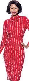 Susanna 3924 - Long Sleeve High Collar Dress With Vertical Bead & Pearl Details