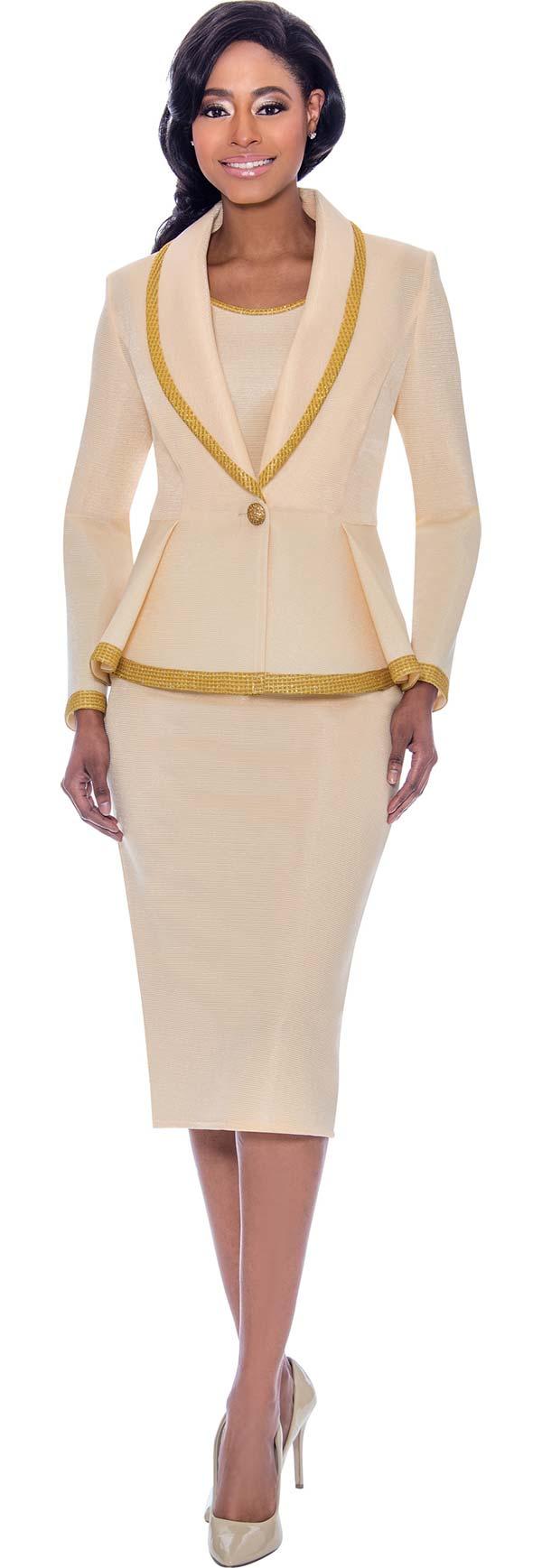 Susanna 3925 - Skirt & Jacket Set With Trimmed Shawl Lapel Pleated Jacket